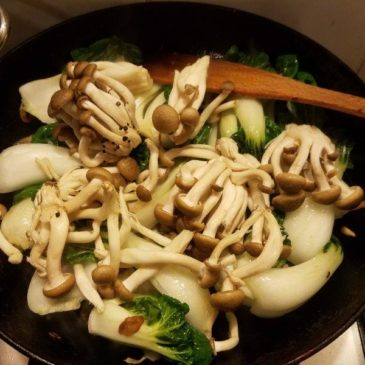 Braised Pak choi (Bok choi), mushrooms and tauge (bean sprouts) recipe